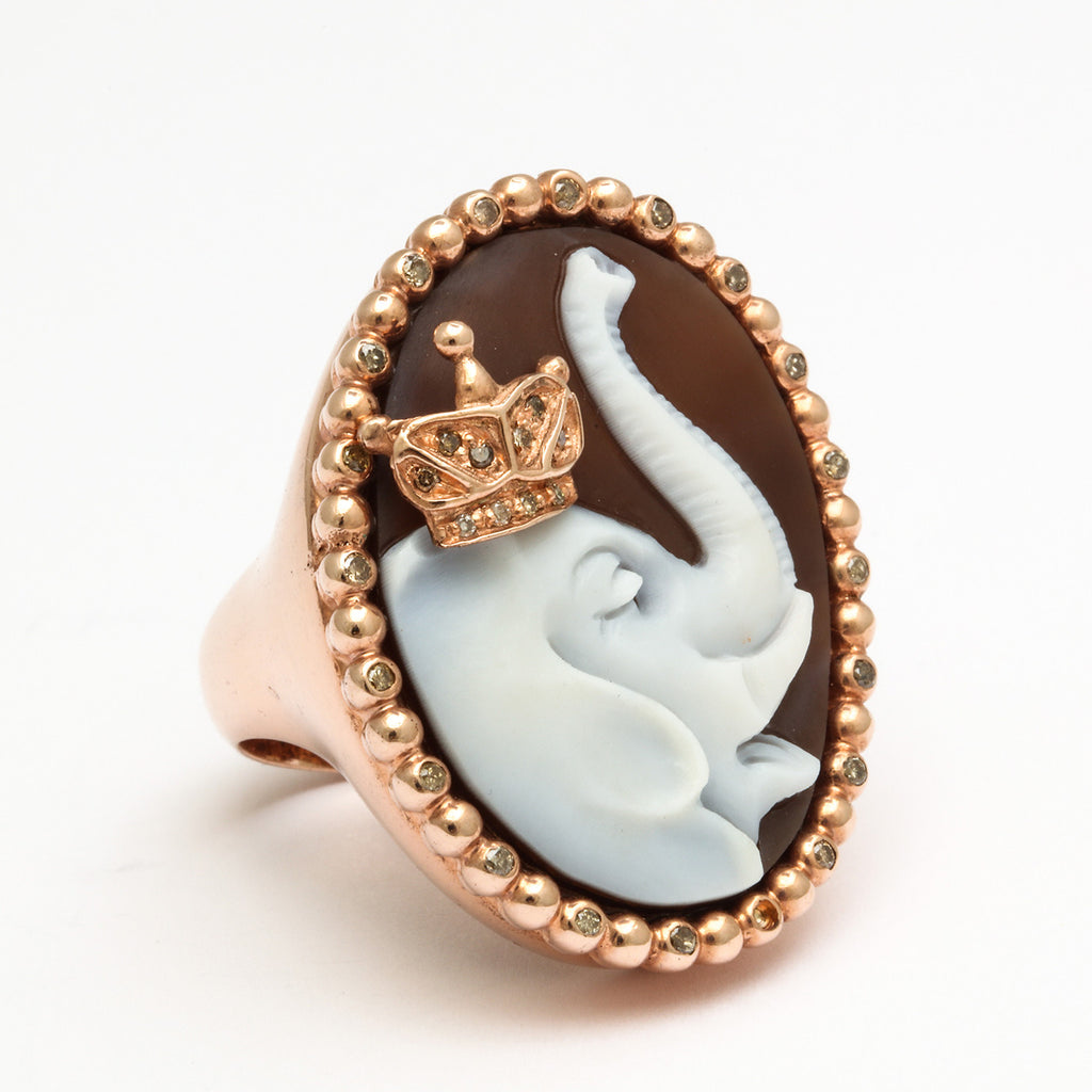 """Elephant"" Cameo Ring"
