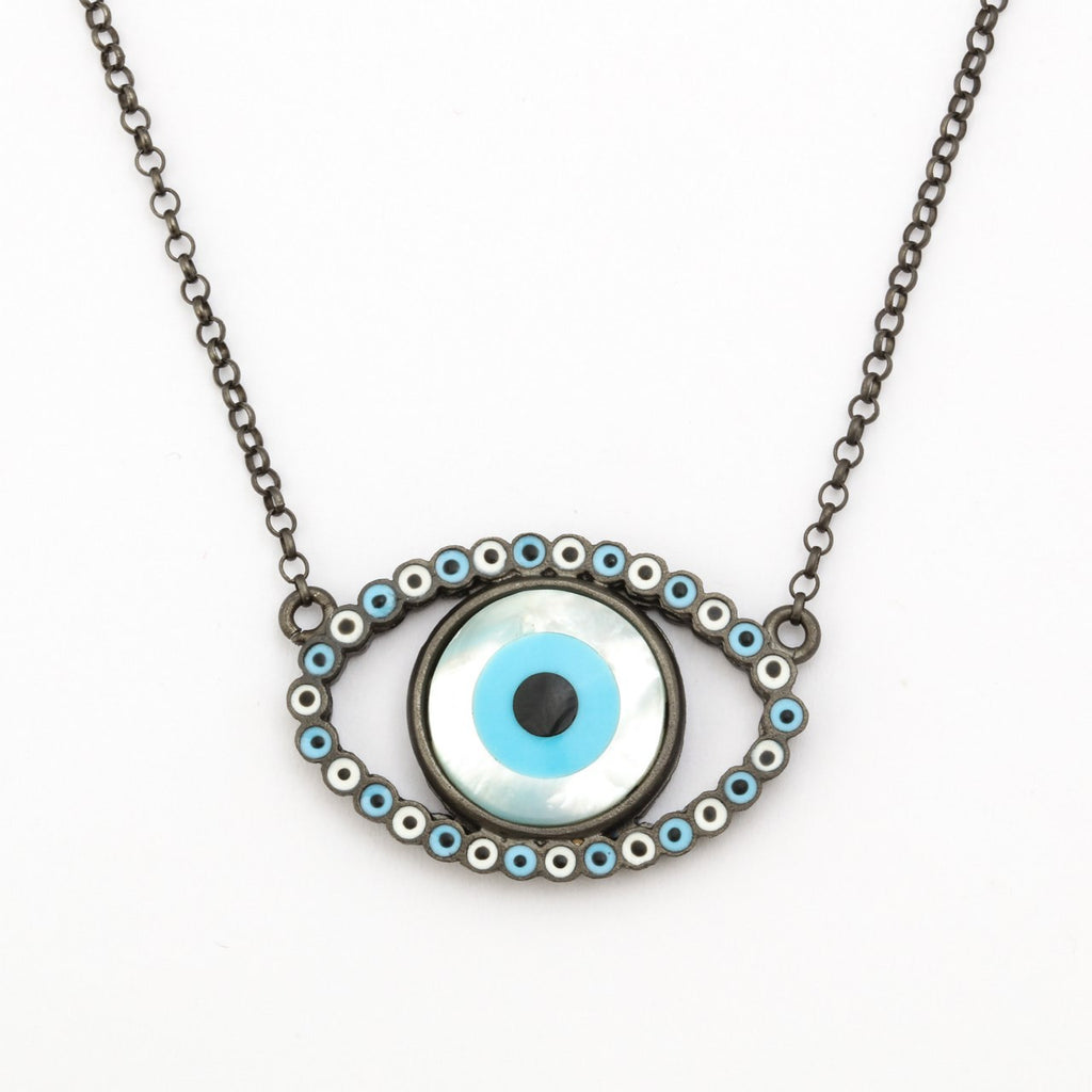 """Evil Eye"" Black Silver Necklace"