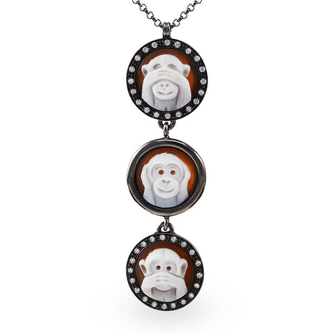 """Edo Shogunate"" Three Monkeys Necklace Sapphires"