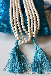 White Howlite Mala Prayer Beads 8mm