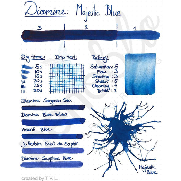 Diamine, Tintenglas, 80 ml, Majestic Blue-2