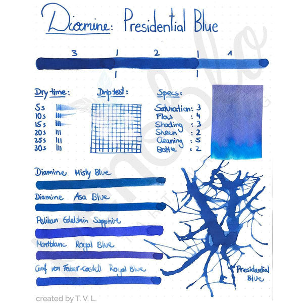 Diamine, Tintenglas, 80 ml, Presidential Blue-2