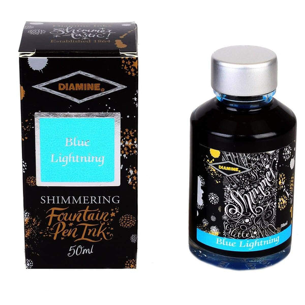 Diamine, Tintenglas, Shimmering 50 ml, Blue Lightning-1