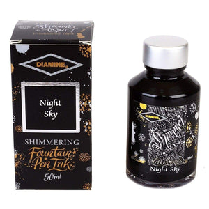 Schwarz11559 Diamine, Tintenglas, Shimmering 50 ml, Night Sky