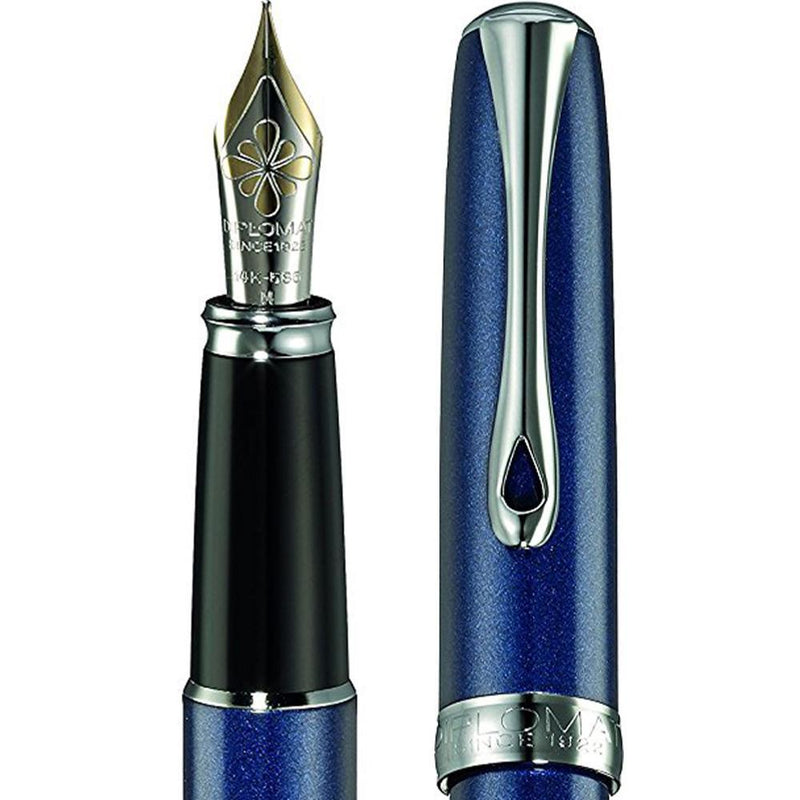 Diplomat, Füller, Excellence A2, Midnight blue chrom 14 kt-2