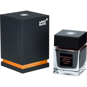Braun11897 Montblanc, Tintenglas 50 ml, Elixir Parfumeur, Leather Duft, Orange/Braun
