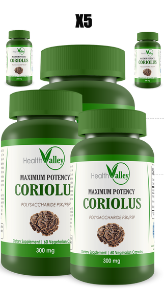 Maximum Potency Coriolus Polysaccharide PSK/PSP - 5 Bottles (BUY 4 AND GET ONE FREE)