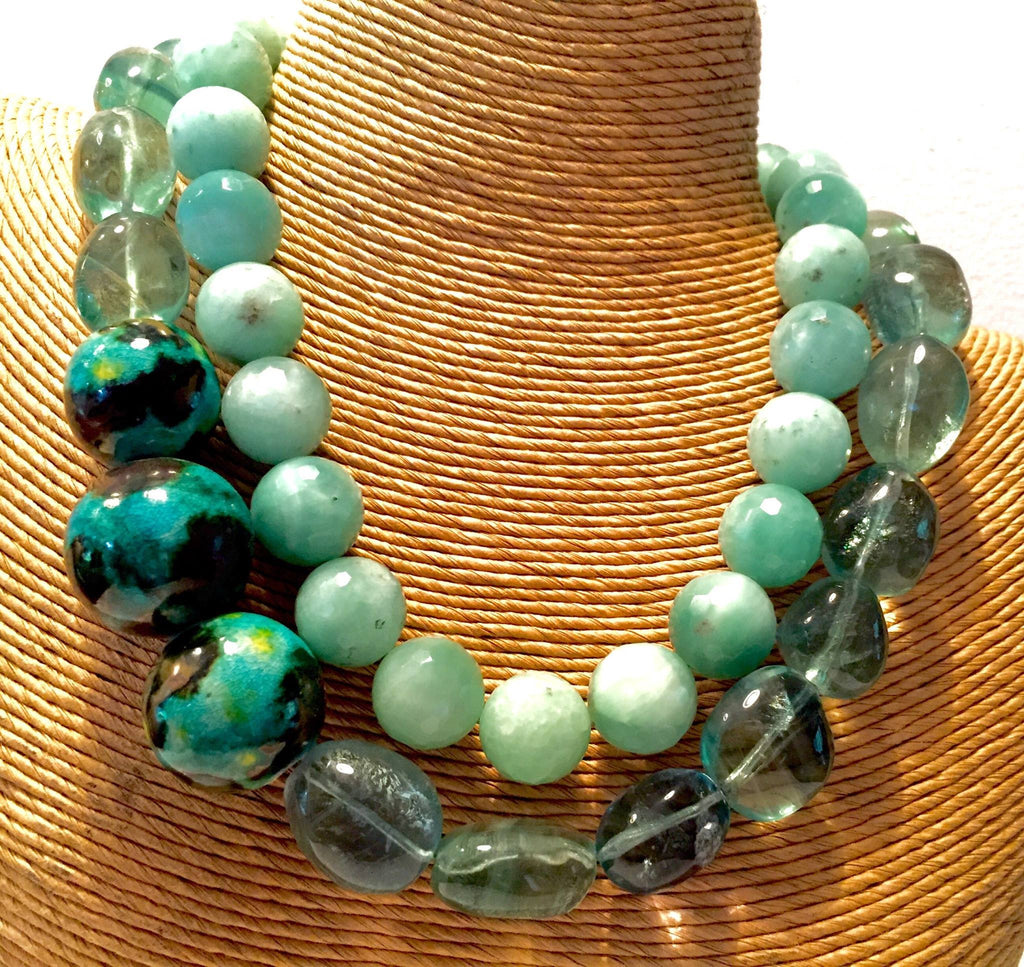 "The ""Caribbean Blues"". 2 Necklaces nestled together - jody dove style"