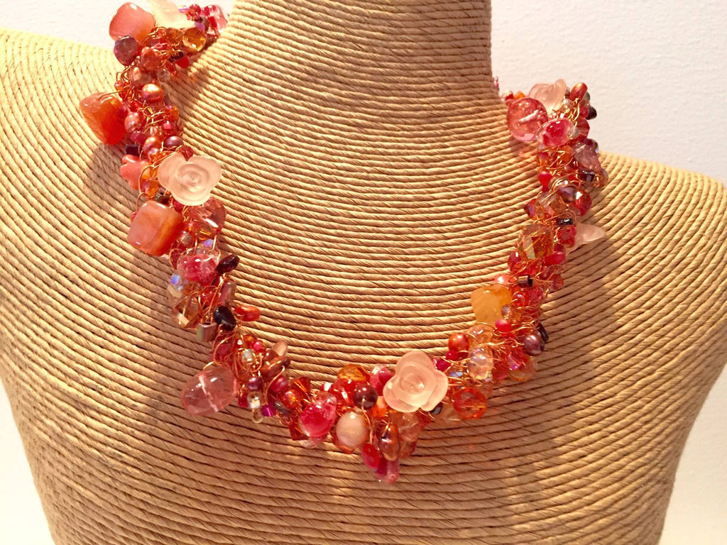 The Torsade necklace- roses - jody dove style