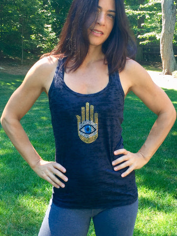 THE HAND AND...burnout racerback tank tops