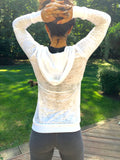 THE HAND AND...Long Sleeve Burnout Hoodie with Crystals - jody dove style  - 3