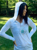 THE HAND AND...Long Sleeve Burnout Hoodie with Crystals - jody dove style  - 4