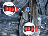 Round metallic earrings and trio red beads - Petit Luxe Shop