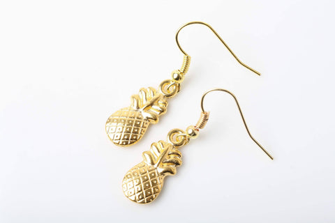 Boucles D'oreilles Ananas, Pinneapple Earrings, Fruits Earrings, Golden Pineapple, Pineapple Jewellery, Tropical Jewelry, Cute Earrings