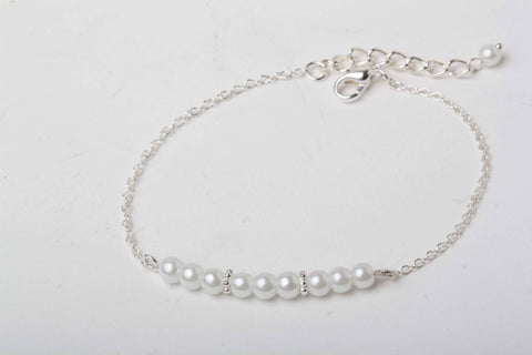 Bracelet perle blanche, chic, mariage, bal, bridemaid, prarl bracelet, weddind stuff, best seller - Petit Luxe Boutique