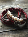 Chic allure pearl red wrap bracelet with tree of life charm, tree of life - Petit Luxe Shop