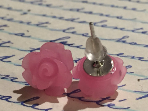 Earrings flower, flower earrings, earrings flowers, rose studs, gift for her, bridemaids gift, stud , rose earrings, boho romantic stud - Petit Luxe Boutique