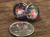 Delicate flower earrings, roses stud, girls, glass cabochon, gift, women jewelry, minimalist glass dome jewelry, pink - Petit Luxe Shop