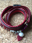 Leather wrap bracelet, leather bracelet, red and pearls - Petit Luxe Shop
