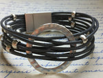 Bracelet wrap cuir, round metal jewel, leather wrap bracelet - Petit Luxe Boutique
