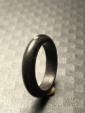 African Wood Diamond Ring, 0.015CT Wedding Ring, Ebony Black, Fiancaille Ring, Wedding Boho Ring,Wooden Ring, Woman Gift, Made in Montreal - Petit Luxe Boutique