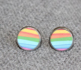 Glass dome earrings, rainbow, rainbow, glass earring, retro style, lgbt, christmas gift, costume jewelry - Petit Luxe Shop