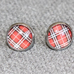Glass dome earrings, tartan, red and black, glass earring, retro style, red and black, christmas gift, costume jewelry - Petit Luxe Shop