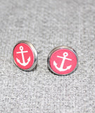 Wooden boat anchor earrings, red white, stud anchor earring, retro style, red and white, christmas gift - Petit Luxe Shop