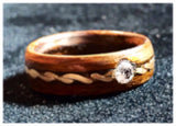 Natural Canadian Diamond Ring, 4mm 0.15ct, 14K GOLD Ring, Wood Ring, Engagement Ring, Wedding, Promise, Wife Gift, Made To Me - Petit Luxe Shop