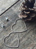 Heart earrings, valentine's day, Corazon silver heart, heart necklace, double love, double heart, mother child, lovely look - Petit Luxe Shop