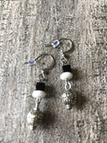 Black and white earrings whit ball metal - Petit Luxe Boutique