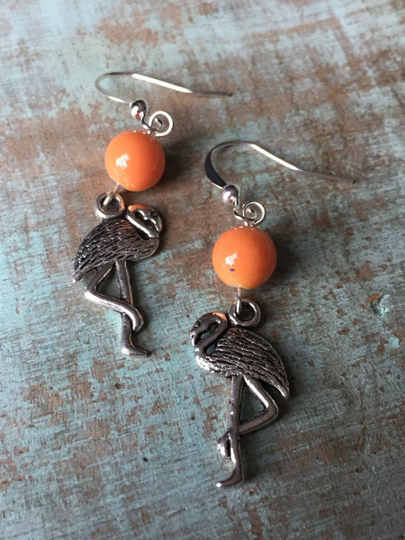Boucles d'oreilles flamant rose, flamingo earrings - Petit Luxe Boutique