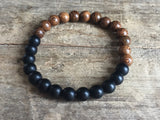 Onyx and wood bracelet, wood and black pearl bracelet - Petit Luxe Shop