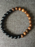 Bracelet onyx et bois, wood and black pearl bracelet - Petit Luxe Boutique