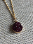 Plum color and gold tone Druzy style necklace golden burgundy Druzy Necklace