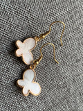 White and gold butterfly earrings