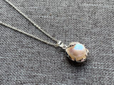 Pearl charm silver necklace