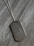 Silver medallion necklace with message