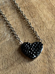 Stainless silver black heart charm necklace