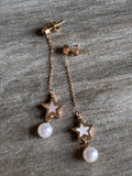 Rose gold star charm and white pearl earrings