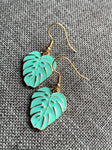 Turquoise and gold palm leaf charm earrings