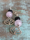 Silver lotus flower, black lava stone and pink glass ball charm earrings