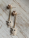 Cream and gold owl and flower charm earrings