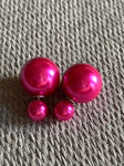 Glossy pink double ball style earrings