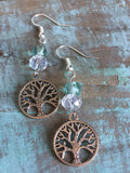 Silver tree of life earrings with transparent and turquoise glass ball