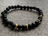 Bracelet with black beads and lava stone (diffuser jewelry)