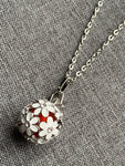 Silver flower charm necklace diffuser jewelry