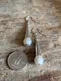 Silver and white pearl charm earrings
