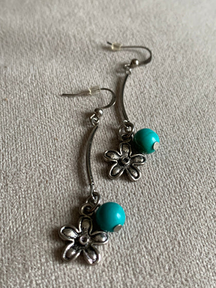 Sterling silver flower and turquoise resin ball charm earrings