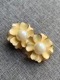 Yellow flower and white pearl earrings